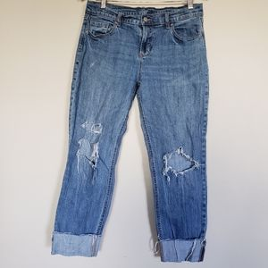 High waisted distressed jeans size 6 raw hem